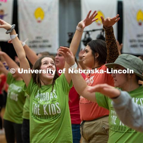 "Students doing the morale dance. University of Nebraska–Lincoln students exceeded their goal, raising $235,229 during the annual HuskerThon on Feb. 29. Also known as Dance Marathon, the event is part of a nationwide fundraiser supporting Children's Miracle Network Hospitals. The annual event, which launched in 2006, is the largest student philanthropic event on campus. The mission of the event encourages participants to, ""dance for those who can't."" All funds collected by the Huskers benefit the Children's Hospital and Medical Center in Omaha. February 29, 2020. Photo by Justin Mohling / University Communication."
