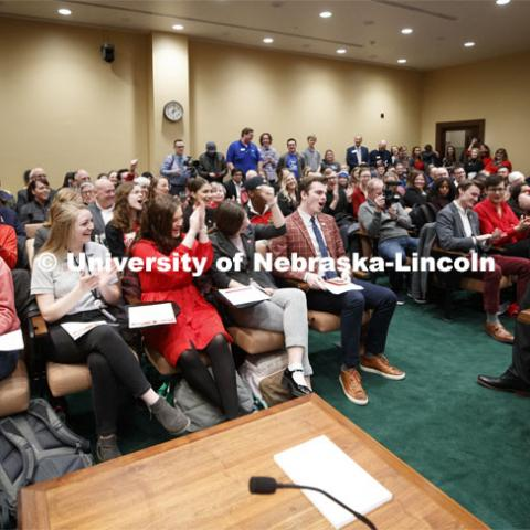 "UNL students cheer as NU President yells ""Go Big Red"". NU Advocacy Day at the Capitol. March 10, 2020. Photo by Craig Chandler / University Communication."