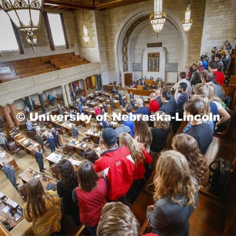 NU Advocacy Day attendees are recognized by a standing ovation from state senators in the Capitol. March 10, 2020. Photo by Craig Chandler / University Communication.