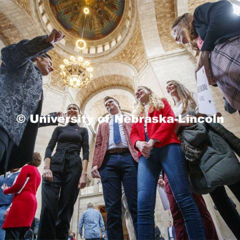 Senator Patty Pansing Brooks talks with a group of UNL students in the Capitol rotunda. NU Advocacy Day at the Capitol. March 10, 2020. Photo by Craig Chandler / University Communication.