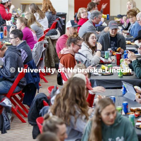 Students eating at Lunch In The Lobby in the Animal Science building lobby is part of CASNR week. March 11, 2020. Photo by Craig Chandler / University Communication.