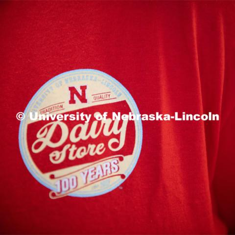 Close up of the 100 Years Dairy Store Logo. CASNR Week Ice Cream Social, UNL Dairy Store Relocation Celebration. March 12, 2020. Photo by Gregory Nathan / University Communication.