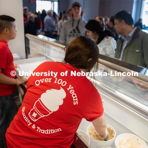 Dairy Store workers scoop ice cream for the CASNR Week Ice Cream Social, UNL Dairy Store Relocation Celebration. March 12, 2020. Photo by Gregory Nathan / University Communication.