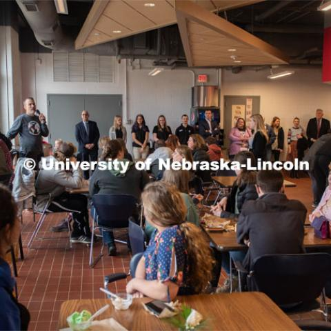 Dr. Terry Howell Jr., of the Food Processing Center, addresses the crowd at the ice cream social. CASNR Week Ice Cream Social, UNL Dairy Store Relocation Celebration. March 12, 2020. Photo by Gregory Nathan / University Communication.