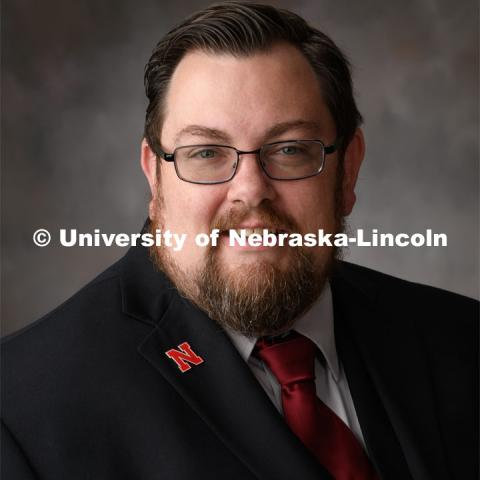 Studio portrait of Pete Haslett, Husker Hub. March 12, 2020. Photo by Gregory Nathan / University Communication.