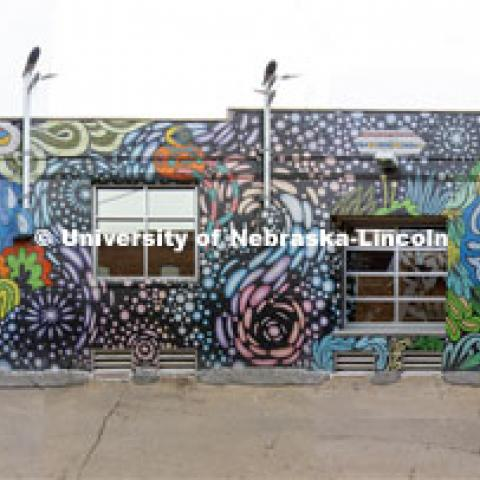 Drone footage of Lincoln's Art Alley and the Haymarket. Photos are for the College of Architecture class, d.Make project (DSGN 111 - Design Making) for the students to help experience the space they are remote designing. March 24, 2020. Photo by Craig Chandler / University Communication.