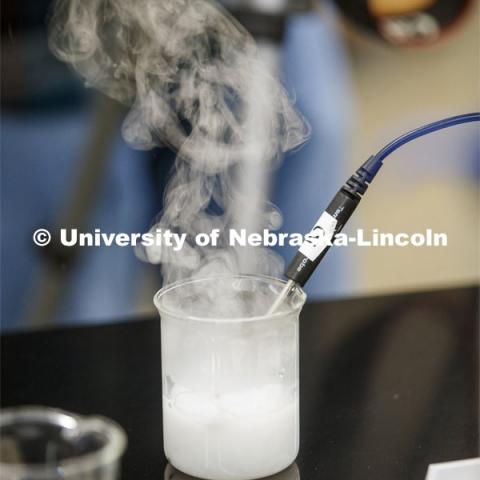 Calcium in water lets off steam as it heats the water as part of the lab. As a result of the Corona virus, Faculty are recording Chemistry labs in Hamilton Hall to prepare for the start of remote learning. March 24, 2020. Photo by Craig Chandler / University Communication.