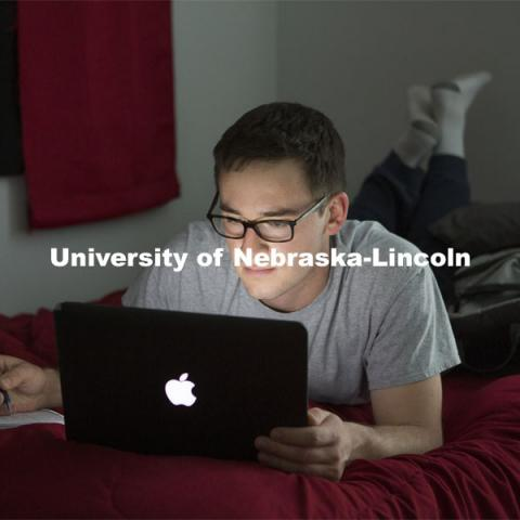 Senior Journalism major, James Wooldridge, studies in his Lincoln apartment. March 30, 2020. Photo by James Wooldridge.