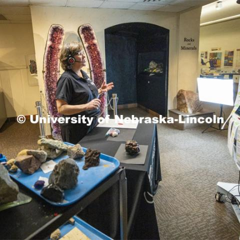 Annie Mumgaard, Virtual Learning Coordinator for the University Museum, gives a virtual tour to more than 120 young students. She discussed the various types of rocks. April 14, 2020. Photo by Craig Chandler / University Communication.