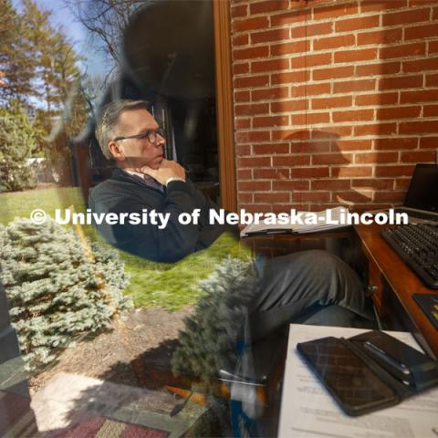 Due to COVID-19 and campus shut down, Chancellor Ronnie Green works from home via Zoom. April 15, 2020. Photo by Craig Chandler / University Communication.