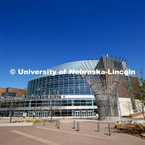 Exterior views of Pinnacle Bank Arena located in the Haymarket of downtown Lincoln, Nebraska. April 20, 2020. Photo by Craig Chandler / University Communication.