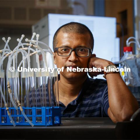 Rajib Saha, Assistant Professor of Chemical and Biomolecular Engineering is an NSF CAREER award winner. April 20, 2020. Photo by Craig Chandler / University.