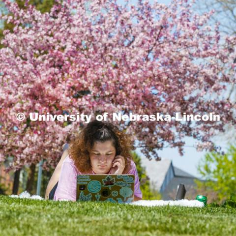Molly Sambol, junior from Omaha, Zooms in on her learning and teaching language arts course outside of the Phi Mu sorority as she and other members staying in the chapter house study outside on a spring day. April 28, 2020. Photo by Craig Chandler / University Communication.