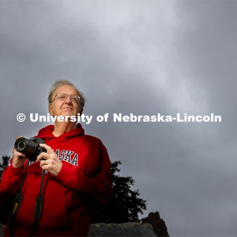 Ken Dewey, professor of climatology at the University of Nebraska–Lincoln, stands outside the Nebraska Union. Dewey is retiring after 46 years at the university. May 19, 2020. Photo by Craig Chandler / University Communication.
