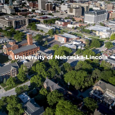 Greek row looking southwest from 16th Street. Drone footage of City Campus. May 29, 2020. Photo by Craig Chandler / University Communication.