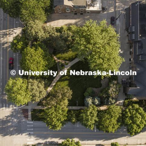 Green space on 16th and R Streets. Drone footage of City Campus. May 29, 2020. Photo by Craig Chandler / University Communication.
