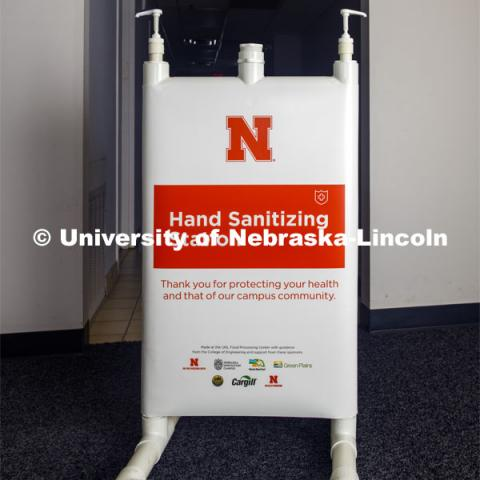 A finished Hand Sanitizer Station assembled by Housing Facilities staff at the UNL Facilities building. Jim Jackson, associate vice chancellor of University Operations, put a team together to solve the problem of efficiently distributing hand sanitizer across campus. They invented the large-capacity, free-standing dispenser station. June 3, 2020 Photo by Gregory Nathan / University Communication.