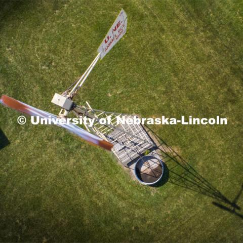 High angle view of the windmill on east campus behind the Animal Science building. June 15, 2020. Photo by Craig Chandler / University Communication.