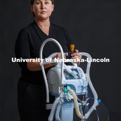 Keely Buesing, a trauma critical care surgeon at the University of Nebraska Medical Center, used her expertise to help develop therapies and devices to treat ARDS, she helped to develop a strategy for stacking two patients on the same ventilator. June 19, 2020. Photo by Craig Chandler / University Communication.