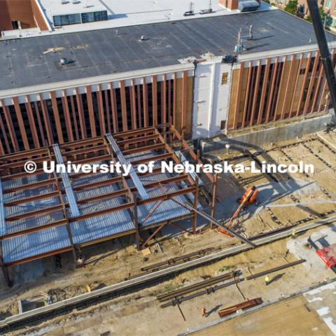 The steel skeleton goes up for the Engineering Phase 1 construction to replace the Link. Work continues on the $75 million phase one renovation and expansion of the University of Nebraska–Lincoln's College of Engineering. The project will create and update spaces in the Scott Engineering Center and the Link, a 34-year-old structure that connected the Scott building to Nebraska Hall. When complete, the updated facilities will benefit students, faculty and research. June 26, 2020. Photo by Craig Chandler / University Communication.