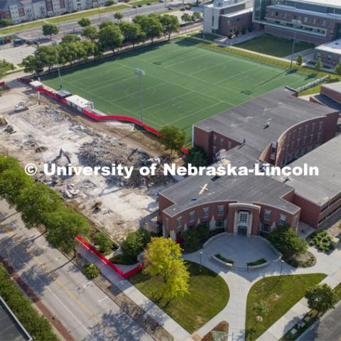 Aerial view, Mabel Lee demolition finishes up. June 26, 2020. Photo by Craig Chandler / University Communication.