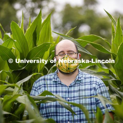 James Schnable corn mask is inspired by his surroundings at the Agriculture fields at 84th and Havelock. June 30, 2020. Photo by Craig Chandler / University Communication.
