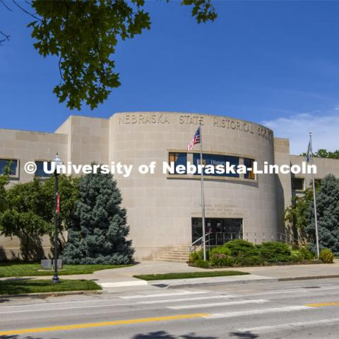 Exterior shot of the Nebraska State Historical Society. July 1, 2020. Photo by Greg Nathan / University Communication.