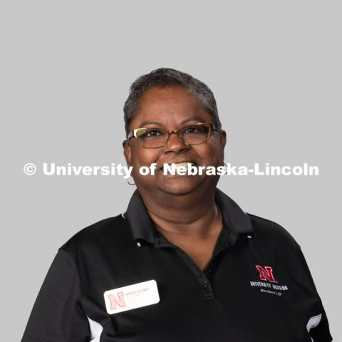 Studio portrait of Marian Coleman, Services Supervisor, Residence Life. July 27, 2020. Photo by Greg Nathan / University Communication.
