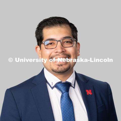 Studio portrait of Alejandro Diaz, Residence Director, Residence Life. July 27, 2020. Photo by Greg Nathan / University Communication.