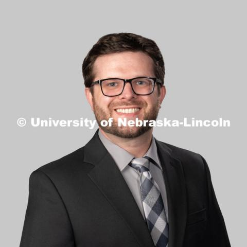 Studio portrait of Matt Nelson, Associate Residence Director, Residence Life. July 27, 2020. Photo by Greg Nathan / University Communication.