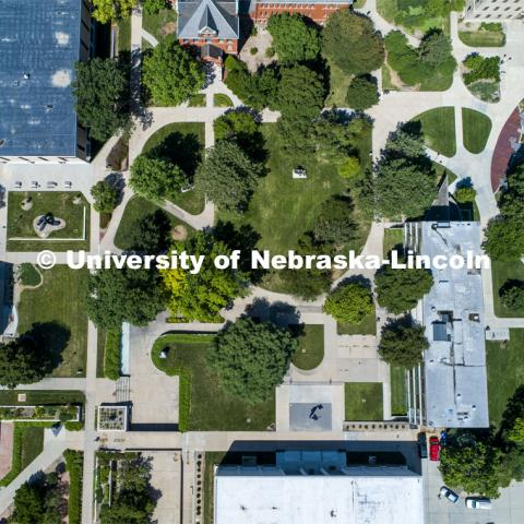 City Campus aerials. Sheldon Sculpture Garden. July 31, 2020. Photo by Craig Chandler / University Communication.