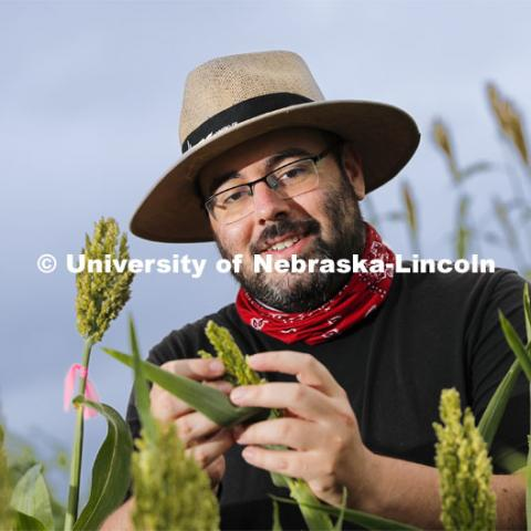 James Schnable recently earned a $2.7 million, three-year grant from the U.S. Department of Energy to develop a rapid, efficient method for characterizing the functions of genes in sorghum. August 7, 2020. Photo by Craig Chandler / University Communication.