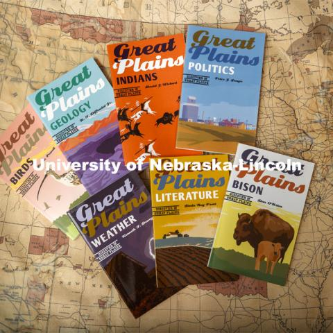 """Discover the Great Plains"" book series – a collaboration between the Press and the Center for Great Plains studies produced by Donna Shear and Rick Edwards. August 21, 2020. Photo by Craig Chandler / University Communication."