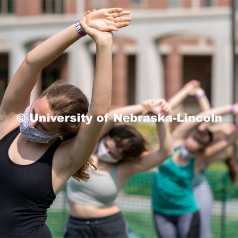 Students participate in yoga during Wellness Fest at Meier Commons. August 22, 2020. Photo by Jordan Opp for University Communication.