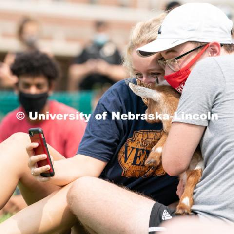 Freshman Meredith Game (left) and Freshman Ian Mitchell (right) take a selfie together with a goat during Wellness Fest at Meier Commons. August 22, 2020. Photo by Jordan Opp for University Communication.