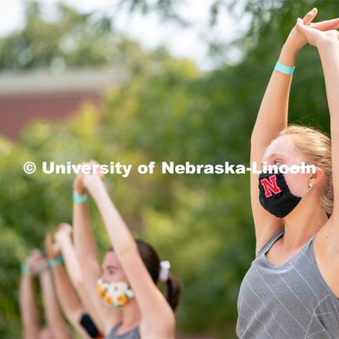 Students dance during Wellness Fest at Meier Commons. August 22, 2020. Photo by Jordan Opp for University Communication.
