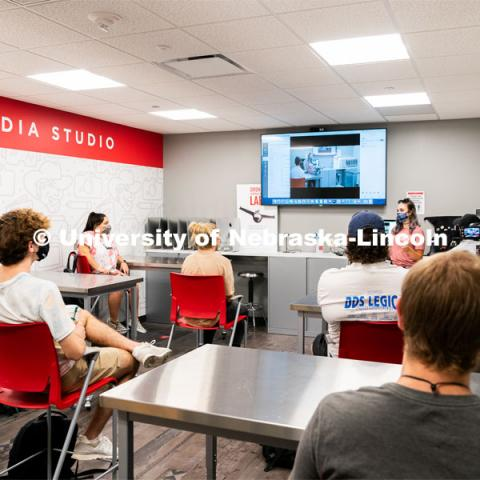 Students sit a social distance of six feet apart from one another inside of Andersen Hall during the first day of in-person instruction at the University of Nebraska-Lincoln on Monday, August 24, 2020. Photo by Jordan Opp for University Communication.