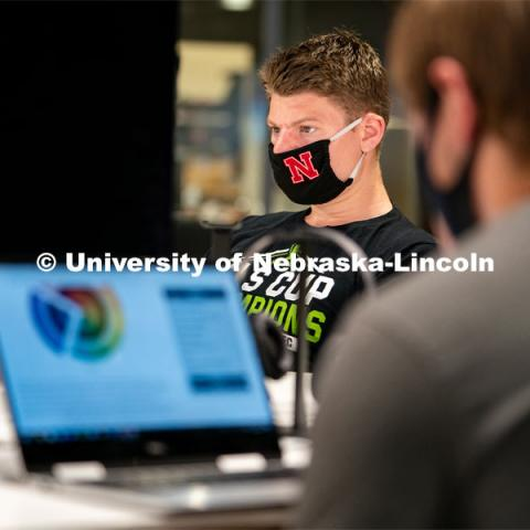 Junior Sports Media and Broadcasting major Peyton Thomas works on homework inside of Andersen Hall during the first day of in-person instruction at the University of Nebraska-Lincoln on Monday, August 24, 2020. Photo by Jordan Opp for University Communication.