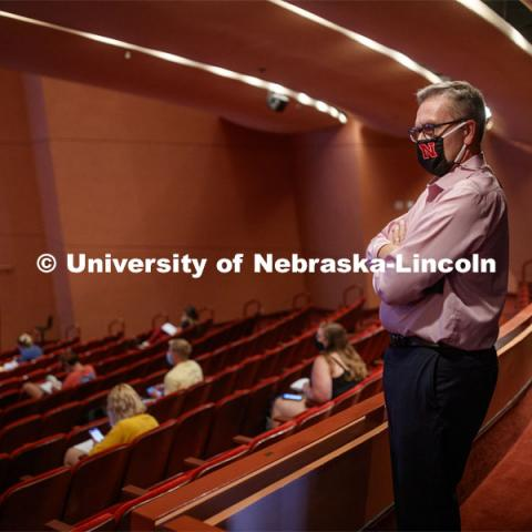Chancellor Ronnie Green stands in the back of a class held inside the Lied Center. First day for in-person learning for the fall semester. August 24, 2020. Photo by Craig Chandler / University Communication.