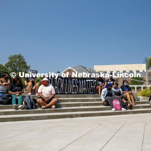 Black Lives Matter sit-in sponsored by the Black Student Union to draw attention to the shooting of Jacob Blake in Kenosha, WI. August 25, 2020. Photo by Craig Chandler / University Communication.
