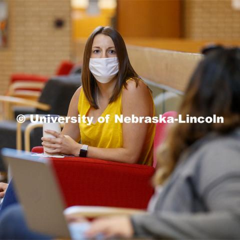 Students studying in the College of Law. Nebraska Law College photo shoot. September 3, 2020. Photo by Craig Chandler / University Communication.