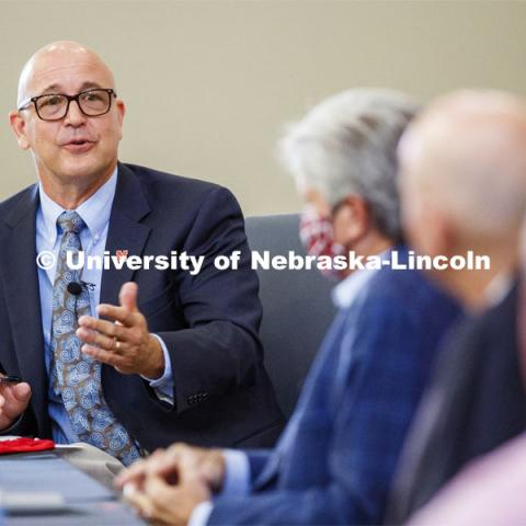 UNL Harlan Vice Chancellor for IANR and NU Vice President Mike Boehm, opens the Nebraska Agricultural Innovation Panel at Nebraska Innovation Campus. September 4, 2020. Photo by Craig Chandler / University Communication.