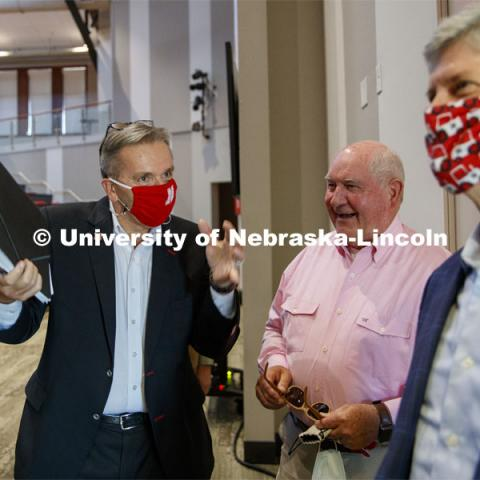 UNL Chancellor Ronnie Green shares 4-H memories with United States Secretary of Agriculture Sonny Perdue and Congressman Jeff Fortenberry at the Nebraska Agricultural Innovation Panel at Nebraska Innovation Campus. September 4, 2020. Photo by Craig Chandler / University Communication.