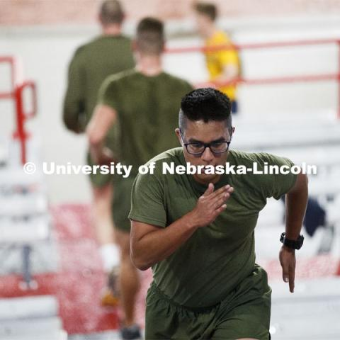 Midshipman Enriquez Carlos runs the west stadium steps. UNL ROTC cadets and Lincoln first responders run the steps of Memorial Stadium to honor those who died on September 11. Each cadet ran more than 2,000 steps. September 11, 2020. Photo by Craig Chandler / University Communication.