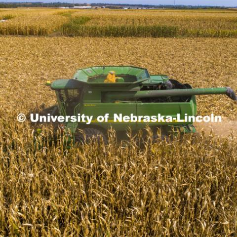 Corn is harvested in the test fields at 84th and Havelock. September 21, 2020. Photo by Craig Chandler / University Communication.
