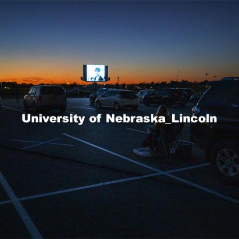 "The northwest corner of Nebraska Innovation Campus was the site for a drive-in movie showing ""The Art of Dissent,"" a feature documentary film by historian James Le Sueur. The film explores the role of artistic activism during Czechoslovakia's communist takeover and nonviolent transition from communist power. September 30, 2020. Photo by Craig Chandler / University Communication."