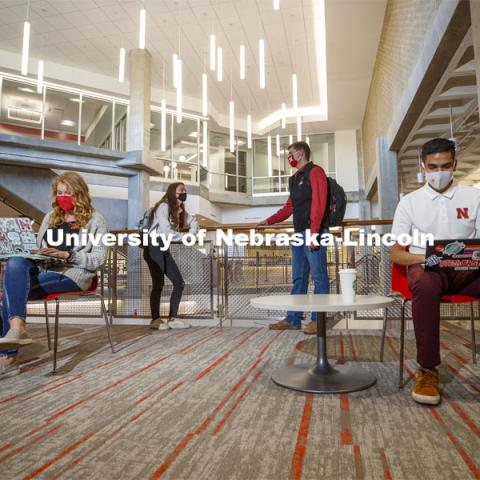Students studying inside the remodeled Nebraska East Union. East Campus photo shoot. October 13, 2020. Photo by Craig Chandler / University Communication.