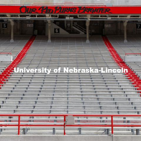 Cornhusker Marching Band, Cheer Squad and Homecoming Royalty met in the empty Memorial Stadium to record performances that will air during Husker football games on the Big 10 Network during the upcoming season. October 18, 2020. Photo by Craig Chandler / University Communication.