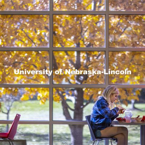 A young woman enjoying lunch in the Nebraska Union on City Campus. November 4, 2020. Photo by Craig Chandler / University Communication.