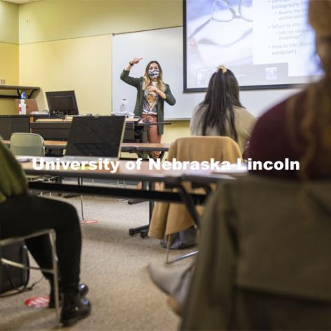 Crystal Garcia teaches here CEHS Educational Administration class: College Students in America. November 10, 2020. Photo by Craig Chandler / University Communication.